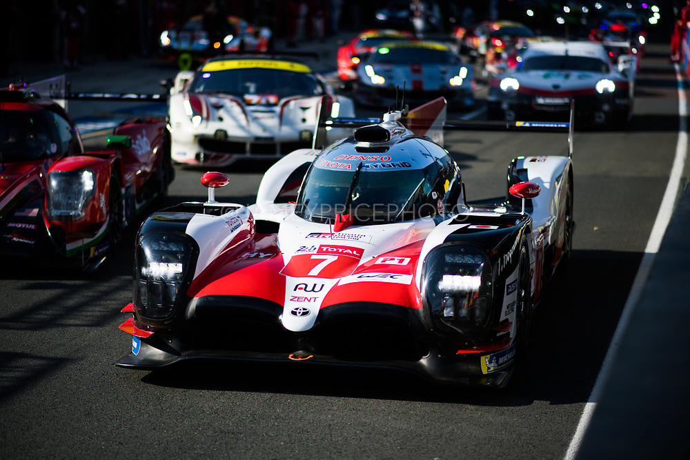 June 16-17, 2018: 24 hours of Le Mans. 7 Toyota Racing, Toyota TS050 Hybrid, Mike Conway, Kamui Kobayashi, Jose Maria Lopez