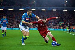 LIVERPOOL, ENGLAND - Tuesday, December 11, 2018: Liverpool's Andy Robertson (R) and Napoli's Nikola Maksimović during the UEFA Champions League Group C match between Liverpool FC and SSC Napoli at Anfield. (Pic by David Rawcliffe/Propaganda)