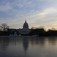 The Capital grounds and the Reflecting Pool are shown at sunrise for the swearing in of Barack Obama as the 44th President of the United States of America during his Inauguration Ceremony on Capitol Hill in Washington on January 20, 2009.    (Mark Goldman/ Goldmine Photos)