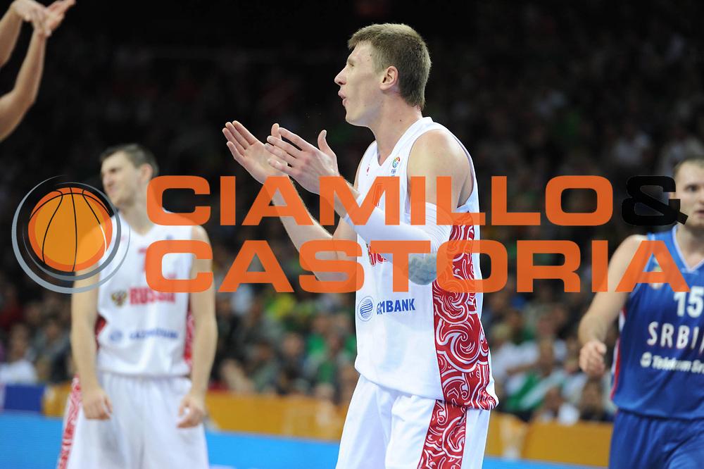 DESCRIZIONE : Kaunas Lithuania Lituania Eurobasket Men 2011 Quarter Final Round Russia Serbia<br /> GIOCATORE : Andrey Vorontsevich<br /> CATEGORIA : ritratto delusione<br /> SQUADRA : Russia<br /> EVENTO : Eurobasket Men 2011<br /> GARA : Russia Serbia<br /> DATA : 15/09/2011<br /> SPORT : Pallacanestro <br /> AUTORE : Agenzia Ciamillo-Castoria/GiulioCiamillo<br /> Galleria : Eurobasket Men 2011<br /> Fotonotizia : Kaunas Lithuania Lituania Eurobasket Men 2011 Quarter Final Round Russia Serbia<br /> Predefinita :
