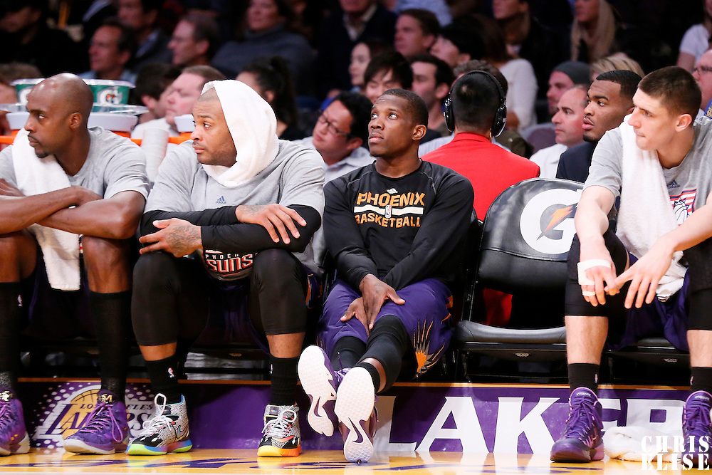 04 November 2014: Phoenix Suns guard Eric Bledsoe (2) is seen on the bench during the Phoenix Suns 112-106 victory over the Los Angeles Lakers, at the Staples Center, Los Angeles, California, USA.