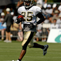 July 31, 2010; Metairie, LA, USA; New Orleans Saints running back Reggie Bush (25) runs during a training camp practice at the New Orleans Saints practice facility. Mandatory Credit: Derick E. Hingle