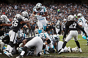 Oakland Raiders linebacker Daren Bates (56) and Oakland Raiders free safety Reggie Nelson (27) close in for the tackle as Carolina Panthers running back Jonathan Stewart (28) attempts a leap over a goal line on a third quarter play during the 2016 NFL week 12 regular season football game against the Carolina Panthers on Sunday, Nov. 27, 2016 in Oakland, Calif. The Raiders won the game 35-32. (©Paul Anthony Spinelli)