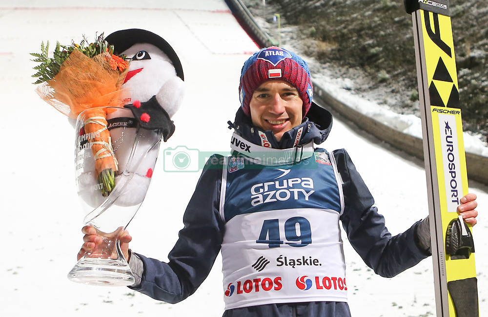 November 19, 2017 - Wisla, Poland - Stoch Kamil of Poland, second place, joy, celebration competes in the individual competition during the FIS Ski Jumping World Cup on November 19, 2017 in Wisla, Poland. (Credit Image: © Foto Olimpik/NurPhoto via ZUMA Press)