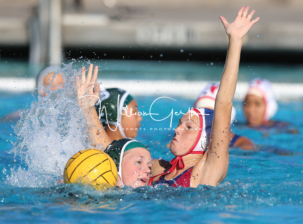(Photograph by Bill Gerth for SVCN) Saratoga #15 Madeline Stuart puts the defenseive pressure on Homestead #4 Erin Slaney in a SCVAL Girls Water Polo match at Homestead High School, Sunnyvale CA on 10/20/16.  (Homestead 3 Saratoga 2)