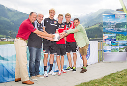 15.07.2013, Tauern SPA, Kaprun, AUT, Bayer 04 Leverkusen Trainingslager, im Bild Leo Bauernberger (Salzburger Land Tourismus), Rudi Voeller (Sportdirektor, Bayer 04 Leverkusen), Sami Hyypiae, (Trainer, Bayer 04 Leverkusen), Lars Bender, (Bayer 04 Leverkusen), Stefan Kiessling, (Bayer 04 Leverkusen) und Christoph Bruendl (TVB Zell am See Kaprun) waehrend der Pressekonferenz // during a Pressconference of the German Bundesliga Club Bayer 04 Leverkusen at the Hotel Tauern SPA, Kaprun, Austria on 2013/07/15. EXPA Pictures © 2013, PhotoCredit: EXPA/ Juergen Feichter