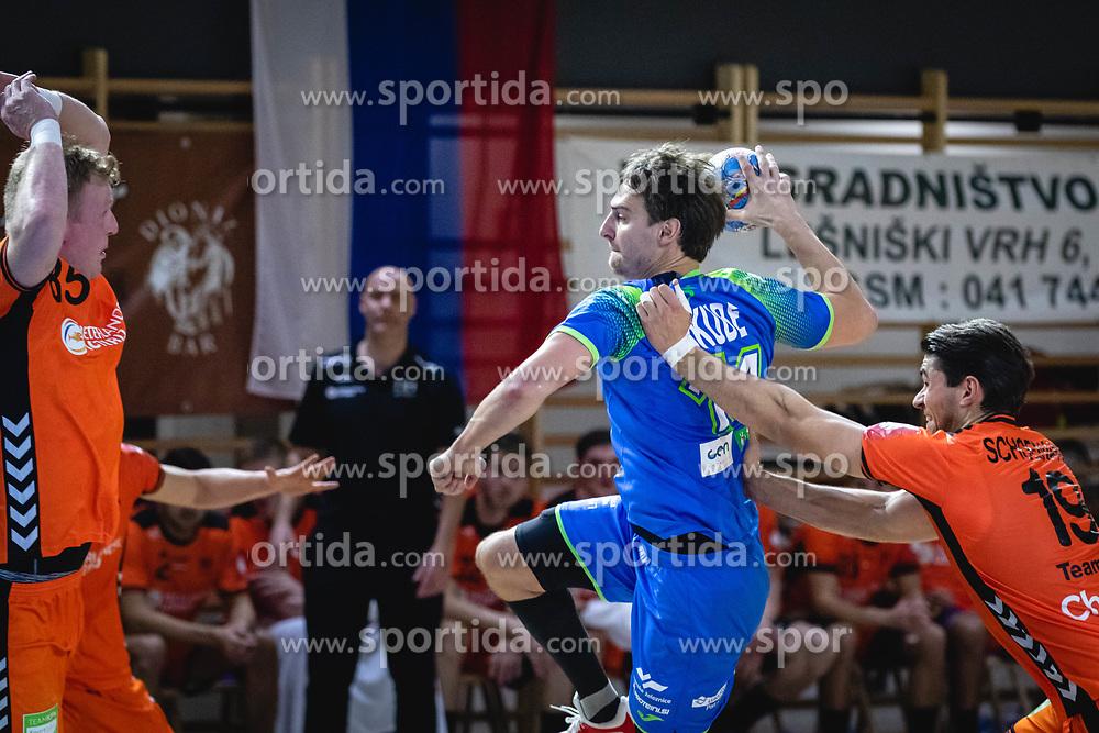 Sebastian Skube of Slovenia during friendly handball match between Slovenia and Nederland, on October 25, 2019 in Športna dvorana Hardek, Ormož, Slovenia. Photo by Blaž Weindorfer / Sportida