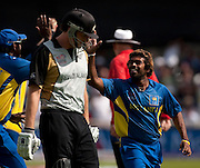 Bowler Lasith Malinga celebrates the run out of Kyle Mills (centre) and winning the ICC World Twenty20 Cup match between New Zealand and Sri Lanka at Trent Bridge. Photo © Graham Morris (Tel: +44(0)20 8969 4192 Email: sales@cricketpix.com)