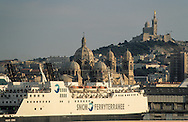 "France. Marseille. port, the major cathedral and Notre dame de la garde church on the hill  Marseille  France  /port autonome la ""major"" cathedrale et Notre dame de la garde, la bonne mère  Marseille  France  /     L0008221  /  R20711  /  P115642"