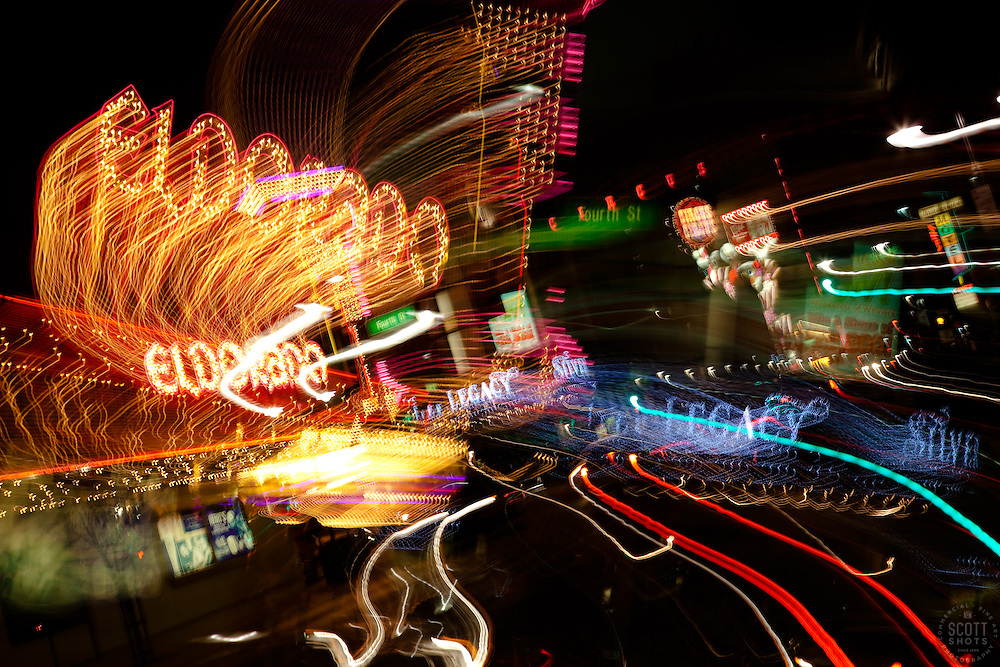 """Downtown Reno 4"" - These signs were photographed in Downtown Reno, Nevada. The effect was obtained in camera by long exposure mixed with intentional camera movement."