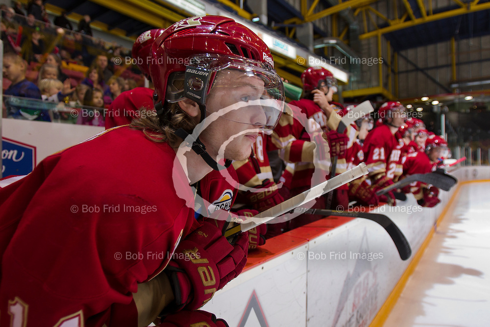 29 December 2013:  Austin Plevy (14) of the Chiefs  during a game between the Chilliwack Chiefs and the Surrey Eagles at Prospera Centre, Chilliwack, BC.    ****(Photo by Bob Frid - All Rights Reserved 2013): mobile: 778-834-2455 : email: bob.frid@shaw.ca ****