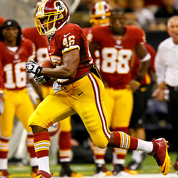 September 9, 2012; New Orleans, LA, USA; Washington Redskins running back Alfred Morris (46) against the New Orleans Saints during the second half of a game at the Mercedes-Benz Superdome. The Redskins defeated the Saints 40-32. Mandatory Credit: Derick E. Hingle-US PRESSWIRE