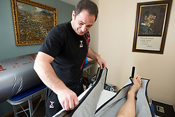 Physiotherapist Sokol Kadrija during visit in the rooms of Slovenia Men Handball team during 5th day of 10th EHF European Handball Championship Serbia 2012, on January 19, 2012 in Hotel Srbija, Vrsac, Serbia.  (Photo By Vid Ponikvar / Sportida.com)