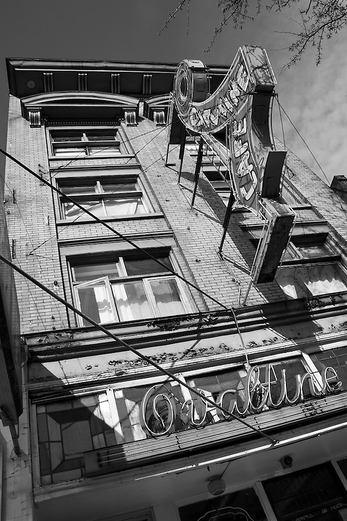 Black & white photograph Ovaltine Cafe, East Hastings Street, Vancouver BC