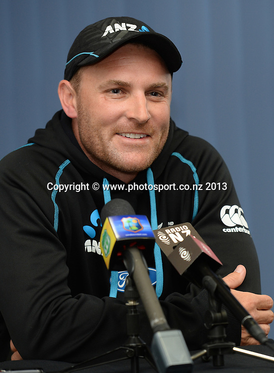 Brendon McCullum at the post match press conference on Day 5 of the 1st cricket test match of the ANZ Test Series. New Zealand Black Caps v West Indies at University Oval in Dunedin. Saturday 7 December 2013. Photo: Andrew Cornaga/www.Photosport.co.nz