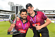 Azhar Ali of Somerset and Craig Overton of Somerset with the One Day Cup trophy during the Royal London 1 Day Cup Final match between Somerset County Cricket Club and Hampshire County Cricket Club at Lord's Cricket Ground, St John's Wood, United Kingdom on 25 May 2019.