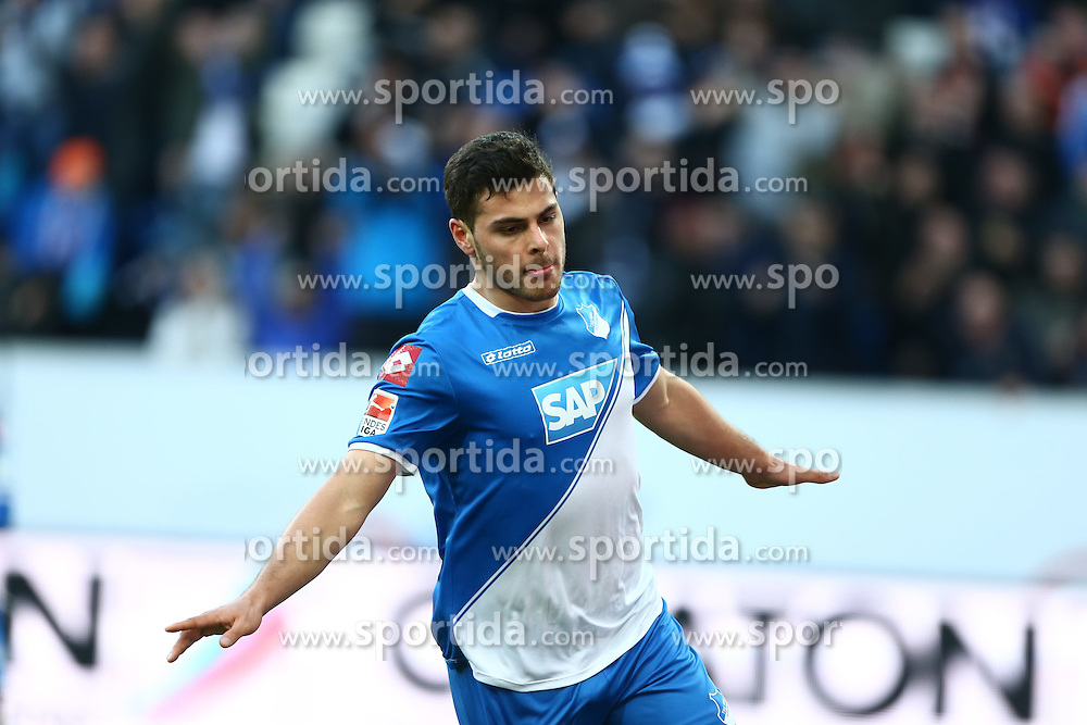 28.02.2015, Rhein Neckar Arena, Sinsheim, GER, 1. FBL, TSG 1899 Hoffenheim vs 1. FSV Mainz 05, 23. Runde, im Bild Kevin Volland (TSG 1899 Hoffenheim) bejubelt seinen Treffer zum 1:0, Torjubel / Jubel, Emotionen // during the German Bundesliga 23rd round match between TSG 1899 Hoffenheim and 1. FSV Mainz 05 at the Rhein Neckar Arena in Sinsheim, Germany on 2015/02/28. EXPA Pictures &copy; 2015, PhotoCredit: EXPA/ Eibner-Pressefoto/ Neis<br /> <br /> *****ATTENTION - OUT of GER*****