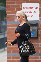 © Licensed to London News Pictures. 14/09/2015. Leeds, UK. Josie Cunningham has announced she is pregnant with her fourth child today, Josie was seen outside Leeds Magistrates court this morning smoking when she appeared to face charges of 'revenge porn' she has pleaded not guilty to disclosing a private sexual photograph of former partner Andrew Goy. Photo credit: Andrew McCaren/LNP