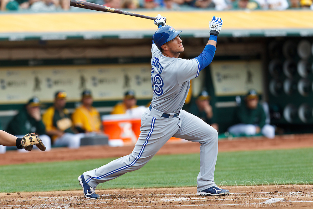 OAKLAND, CA - AUGUST 04: Yan Gomes #68 of the Toronto Blue Jays at bat against the Oakland Athletics during the second inning at O.co Coliseum on August 4, 2012 in Oakland, California. The Toronto Blue Jays defeated the Oakland Athletics 3-1 in eleven innings. (Photo by Jason O. Watson/Getty Images) *** Local Caption *** Yan Gomes