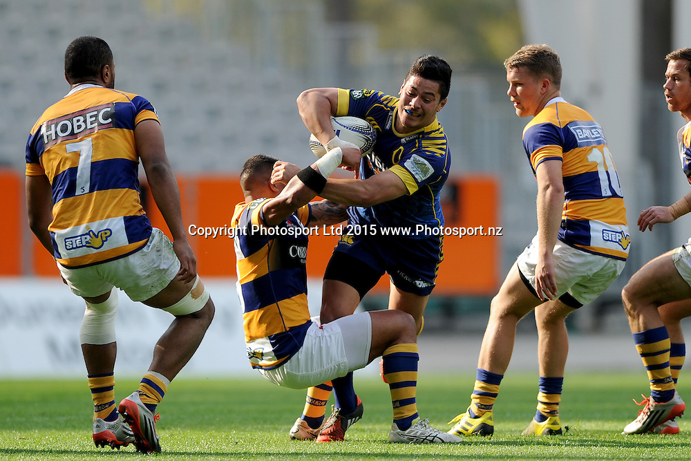 Sio Tomkinson of Otago runs into contact, during the ITM Cup match between Otago and Bay of Plenty, Forsyth Barr Stadium, Dunedin, New Zealand, 11 October 2015. Credit: Joe Allison / www.Photosport.nz