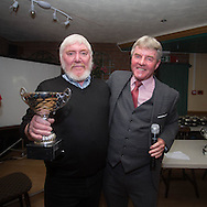 Eddie Ogg (president of the Belhaven Broughty Ferry Domino League) presents the Danny Wynn Cup to Les Brown of The Crown -  Belhaven Broughty Ferry Domino League prizegiving at the Crown, Monifieth<br /> <br />  - &copy; David Young - www.davidyoungphoto.co.uk - email: davidyoungphoto@gmail.com