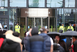 © Licensed to London News Pictures. 24/04/2018. Liverpool, UK. Crowds are gathering outside Alder Hey hospital in Liverpool where 23 month old Alfie Evans life support has been withdrawn but it is reported that he has been breathing unaided for 9 hours. Alfie has been living in a coma for the past year after being struck down with a mystery illness his parents Kate James & Tom Evans have been fighting legal cases t keep him alive & move him abroad for medical treatment. Photo credit: Andrew McCaren/LNP
