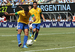 JUNE 09 2012:   Romulo (8) of Brazil winds up a shot that scored the first goal during an international friendly match against Argentina at Metlife Stadium in East Rutherford,New Jersey. Argentina won 4-3.