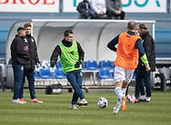 FODBOLD: Mikkel Basse (FC Helsingør) under opvarmningen til kampen i NordicBet Ligaen mellem FC Helsingør og HB Køge den 17. marts 2019 på Helsingør Stadion. Foto: Claus Birch