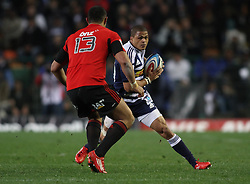 Juan De Jongh of the Stormers attempts to step past Crusaders centre Robert Fruean during the Super Rugby Semi-Final match between DHL Stormers and the Crusaders held at DHL Newlands Stadium in Cape Town, South Africa on 2 July 2011...Photo by Shaun Roy / Sportzpics.net