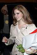 30.JANUARY.2012. PARIS<br /> <br /> AMERICAN SINGER LANA DEL REY BACK TO HER HOTEL IN PARIS WITH HER SPECIAL TATTOO &quot;TRUST NO ONE&quot; ON HER HAND  <br /> <br /> BYLINE: EDBIMAGEARCHIVE.COM<br /> <br /> *THIS IMAGE IS STRICTLY FOR UK NEWSPAPERS AND MAGAZINES ONLY*<br /> *FOR WORLD WIDE SALES AND WEB USE PLEASE CONTACT EDBIMAGEARCHIVE - 0208 954 5968*