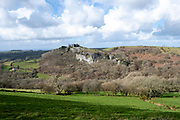 South wall of Carreg Cennen Castle positioned on the top of limestone cliff precipice, Trapp, Brecon Beacons, Powys, UK. The castle has been in a ruinous state since 1462 and is under the care of Cadw, the Welsh Government historic environment service, however the estate is used as working farm land.  (photo by Andrew Aitchison / In pictures via Getty Images)