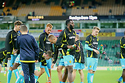 Burton Albion players warm up during the EFL Sky Bet Championship match between Norwich City and Burton Albion at Carrow Road, Norwich, England on 12 September 2017. Photo by John Potts.