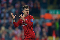 LIVERPOOL, ENGLAND - Tuesday, December 11, 2018: Liverpool's Roberto Firmino during the UEFA Champions League Group C match between Liverpool FC and SSC Napoli at Anfield. (Pic by David Rawcliffe/Propaganda)