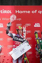 22.12.2013, Gran Risa, Alta Badia, ITA, FIS Ski Weltcup, Alta Badia, Riesenslalom, Herren, Siegerpraesentation, im Bild Marcel Hirscher (AUT, 1. Platz) // 1st place Marcel Hirscher of Austria Celebrate on Podium after Giant Slalom of the Alta Badia FIS Ski Alpine World Cup at the Gran Risa Course in Alta Badia, Italy on 2012/12/22. EXPA Pictures © 2013, PhotoCredit: EXPA/ Erich Spiess