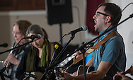 Kevin McCloskey, of The River Drivers, a band from Bristol, sings a song off the band's new CD during the album's release party at Ancient Order of the Hibernian in Bristol, Pa, Saturday, April 4, 2015. Photo by Bryan Woolston.