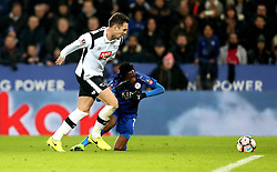Ahmed Musa of Leicester City goes down under the challenge from Jason Shackell of Derby County looking for a penalty - Mandatory by-line: Robbie Stephenson/JMP - 08/02/2017 - FOOTBALL - King Power Stadium - Leicester, England - Leicester City v Derby County - Emirates FA Cup fourth round replay