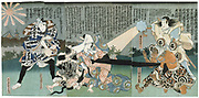 Kabuki theatre scene.  Kabuki, a highly stylised Japanese dance-drama. Utagawa Kunisada (1786-1864) Japanese artist and printmaker. Coloured woodblock print.