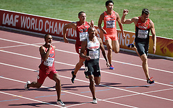 28-08-2015 CHN: IAAF World Championships Athletics day 7, Beijing<br /> 100 m decathlon, Akihiko Nakamura JAP, Rico Freimuth GER, Trey Hardee USA, Damian Warner CAN, Ashton Eaton USA<br /> Photo by Ronald Hoogendoorn / Sportida