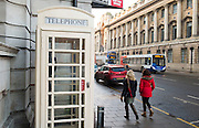 25 January 2017: KCOM cream telephone boxes that are unique to Hull, East Yorkshire. Seven of them have listed status including this one in Alfred Gelder Street, Hull city centre.<br /> Picture: Sean Spencer/Hull News & Pictures Ltd<br /> 01482 210267/07976 433960<br /> www.hullnews.co.uk         sean@hullnews.co.uk