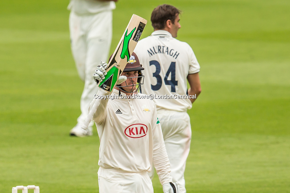 London,UK. 29 August 2017. Jason Roy reaches his fifty batting for Surrey against Middlesex at the Oval on day two of the Specsaver County Championship match at the Oval. David Rowe/ Alamy Live News