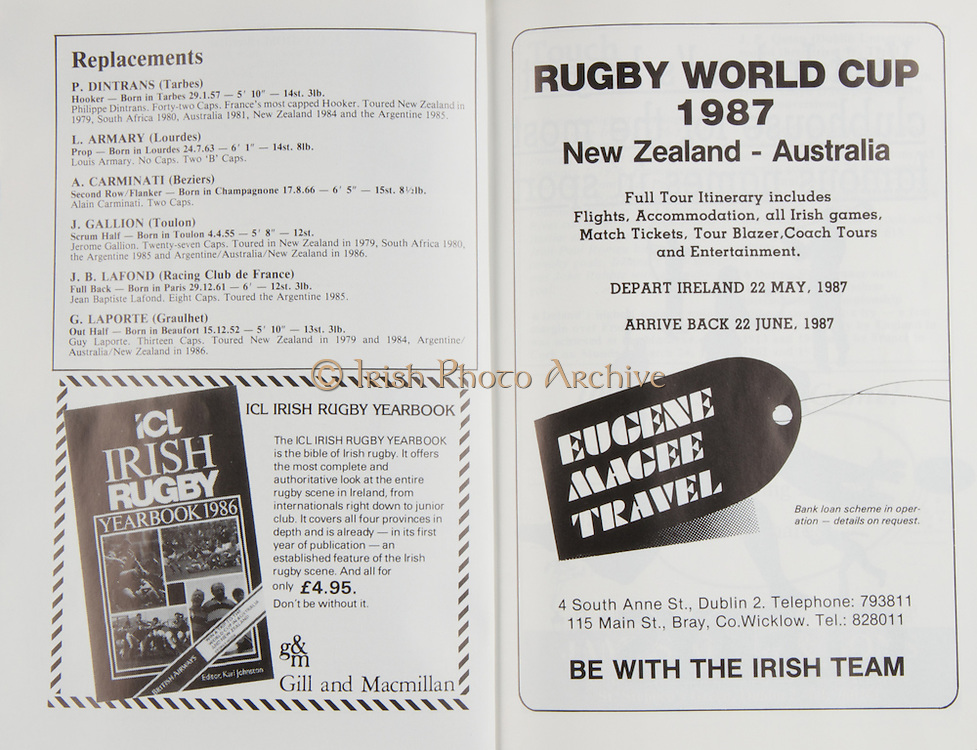 Irish Rugby Football Union, Ireland v France, Five Nations, Landsdowne Road, Dublin, Ireland, Saturday 21st March, 1987,.21.03.1987, 03.21.1987,..Referee- Clive Norling, W.R.U.,..Score- Ireland 13- 19 France,..Irish Team, ..H P MacNeill,  Wearing number 15 Irish jersey, Full Back, London Irish Rugby Football Club, London, England, ..T M Ringland, Wearing number 14 Irish jersey, Right Wing, Ballymena Rugby Football Club, Antrim, Northern Ireland,..B J Mullin, Wearing number 13 Irish jersey, Right Centre, Oxford University Rugby Football Club, Oxford, England, ..M J Kiernan, Wearing number 12 Irish jersey, Left Centre, Dolphin Rugby Football Club, Cork, Ireland, ..K D Crossan, Wearing number 11 Irish jersey, Left Wing, Instonians Rugby Football Club, Belfast, Northern Ireland,..P M Dean, Wearing number 10 Irish jersey, Out Half, St Marys College Rugby Football Club, Dublin, Ireland,..M T Bradley, Wearing number 9 Irish jersey, Scrum Half, Consitution  Rugby Football Club, Cork, Ireland, ..W A Anderson, Wearing number 8 Irish jersey, Forward, Dungannon Rugby Football Club, Tyrone, Northern Ireland,..P M Mathews, Wearing number 7 Irish jersey, Forward, Wanderers Rugby Football Club, Dublin, Ireland, ..B J Spillane, Wearing number 6 Irish jersey, Forward, Bohemian Rugby Football Club, Limerick, Ireland,..J J Glennon, Wearing number 5 Irish jersey, Forward, Skerries Rugby Football Club, Dublin, Ireland, ..D G Lenihan, Wearing number 4 Irish jersey, Captain of the Irish team, Forward, Cork Constitution Rugby Football Club, Cork, Ireland,..D C Fitzgerald, Wearing number 3 Irish jersey, Forward, Landsdowne Rugby Football Club, Dublin, Ireland,..H T Harbison, Wearing number 2 Irish jersey, Forward, Bective Rangers Rugby Football Club, Dublin, Ireland, ..P A Orr, Wearing number 1 Irish jersey, Forward, Old Wesley Rugby Football Club, Dublin, Ireland,..French Team, ..S Blanco, Wearing number 15 French jersey, Full Back, Biarritz Olympique Rugby Football Club, France, ..P Berot,