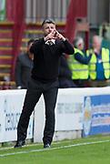 28th April 2018, Fir Park, Motherwell, Scotland; Scottish Premier League football, Motherwell versus Dundee; Motherwell boss Stephen Robinson