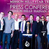 HAIKOU, CHINA - OCTOBER 27:  (L-R) President of Creative Artist Agency Richard Lovett, multiple Olympic gold medalist Michael Phelps of USA, golf legend Greg Norman of Australia, Dr. Ken Chu, Vice Chairman of Mission Hills Group, Zhu Hang Song, leading Chinese film director Feng Xiaogang, famous Chinese actor Chan Dao Ming, Hollywood super star actor Christian Slater of USA and former women's world number one golfer Annika Sorenstam of Sweden pose with the Mission Hills Star Trophy during  the tournament opening press conference on October 27, 2010 in Haikou, China. The Mission Hills Star Trophy is Asia's leading leisure liflestyle event and features Hollywood celebrities and international golf stars.  Photo by Victor Fraile / studioEAST