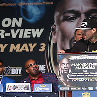 Boxer Luis Collazo speaks during the undercard final press conference for the Mayweather & Maidana boxing match at the Hollywood Theater, inside the MGM Grand hotel on Thursday, May 1, 2014 in Las Vegas, Nevada.  (AP Photo/Alex Menendez)