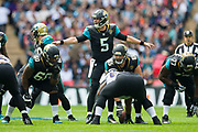 Bortles, Blake of the Jacksonville Jaguars organises his team at the line of scrimmage during the International Series match between Baltimore Ravens and Jacksonville Jaguars at Wembley Stadium, London, England on 24 September 2017. Photo by Jason Brown.