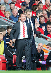 05.05.2013, Anfield, Liverpool, ENG, Premier League, FC Liverpool vs FC Everton, 36. Runde, im Bild Liverpool's manager Brendan Rodgers and Everton's manager David Moyes during the English Premier League 36th round match between Liverpool FC and Everton FC at Anfield, Liverpool, Great Britain on 2013/05/05. EXPA Pictures © 2013, PhotoCredit: EXPA/ Propagandaphoto/ David Rawcliffe..***** ATTENTION - OUT OF ENG, GBR, UK *****