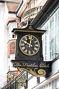 Clock detail with Roman numerals in The Pantiles area of Tunbridge Wells in Kent, England, UK
