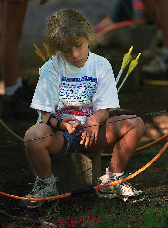 """I knew it, I just knew it,"" is the reaction Taylor Johnson (cq), 8, from Eldorado Hills, has after having no success with archery at Camp Menzies Girl Scout Camp.  Her gloom was short-lived.  Later in the day she was laughing and enjoying herself and had put the archery incident out of her mind.  June 28, 2000."