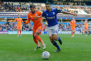 Cardiff City midfielder Leandro Bacuna (7) battles for possession with Birmingham City defender Jake Clarke-Salter (14) during the EFL Sky Bet Championship match between Birmingham City and Cardiff City at the Trillion Trophy Stadium, Birmingham, England on 18 January 2020.