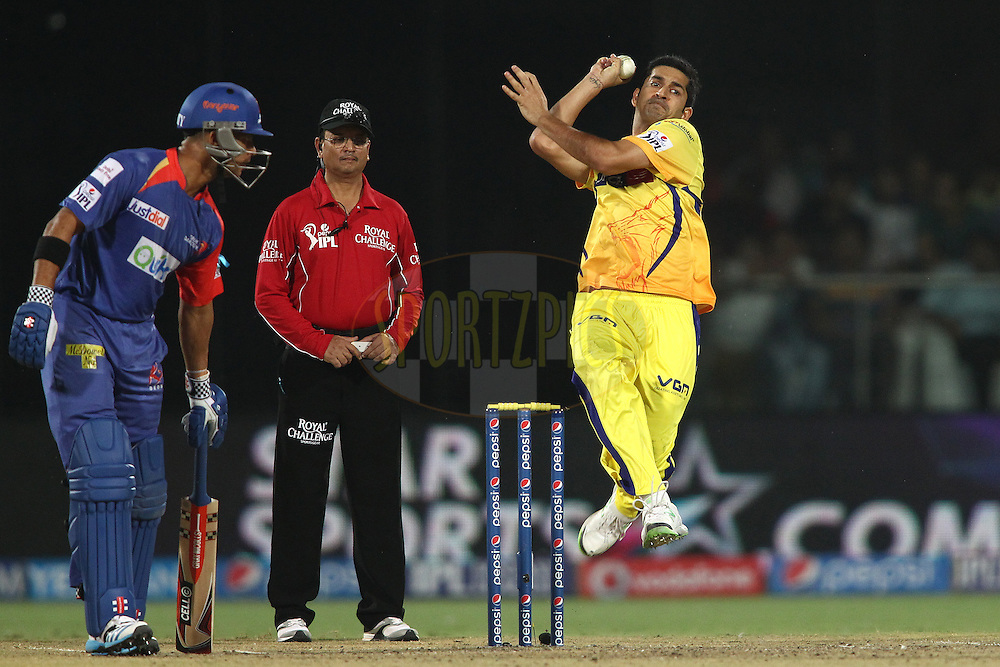 Mohit Sharma of The Chennai Super Kings sends down a delivery during match 26 of the Pepsi Indian Premier League Season 2014 between the Delhi Daredevils and the Chennai Super Kings held at the Feroze Shah Kotla cricket stadium, Delhi, India on the 5th May  2014<br /> <br /> Photo by Shaun Roy / IPL / SPORTZPICS<br /> <br /> <br /> <br /> Image use subject to terms and conditions which can be found here:  http://sportzpics.photoshelter.com/gallery/Pepsi-IPL-Image-terms-and-conditions/G00004VW1IVJ.gB0/C0000TScjhBM6ikg